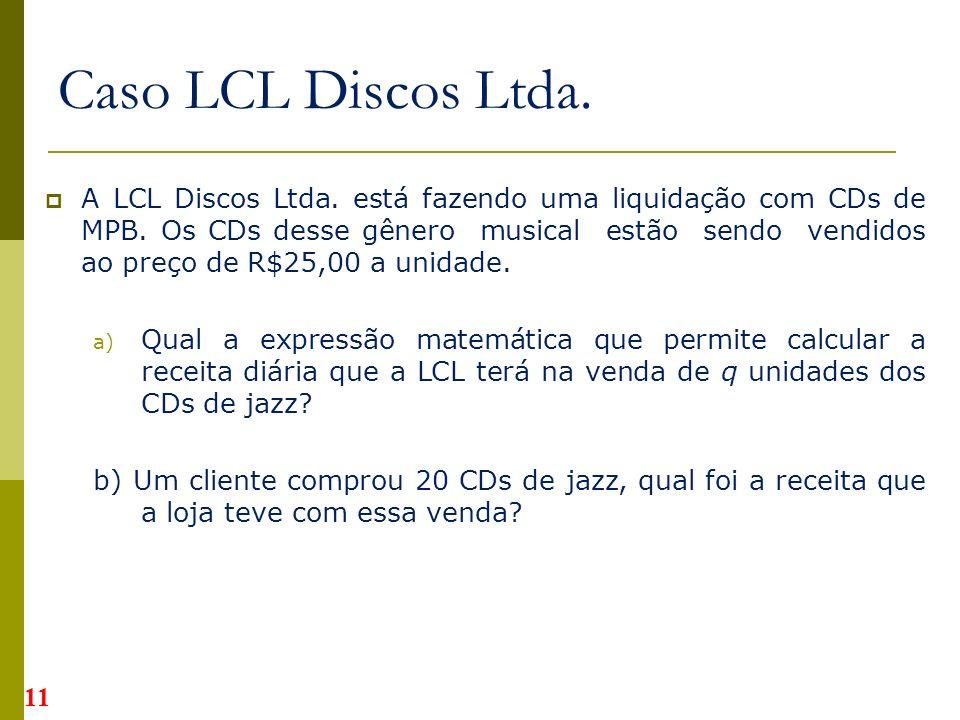 A LCL Discos Ltda.está fazendo uma liquidação com CDs de MPB.