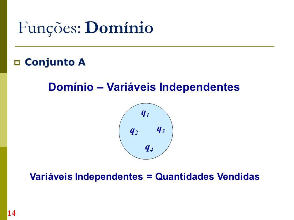 Conjunto A Funções: Domínio Domínio – Variáveis Independentes Variáveis Independentes = Quantidades Vendidas q1q1 q2q2 q3q3 q4q4 14