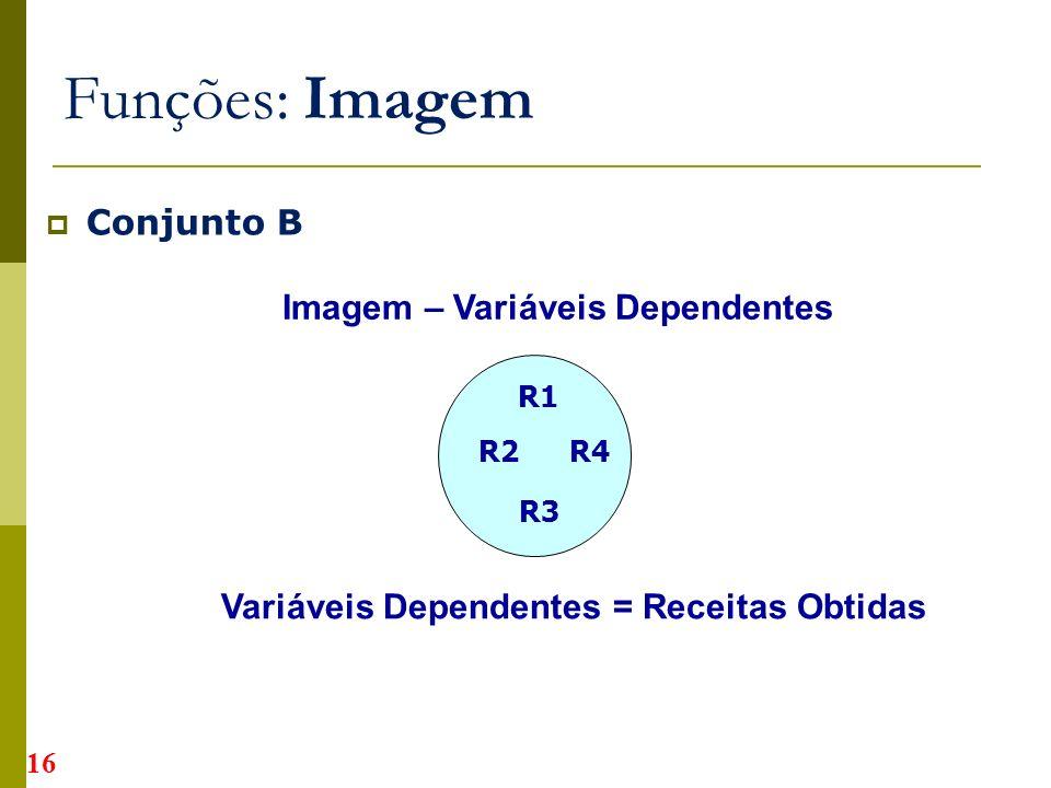 Conjunto B Funções: Imagem R1 R2 R3 Imagem – Variáveis Dependentes Variáveis Dependentes = Receitas Obtidas R4 16