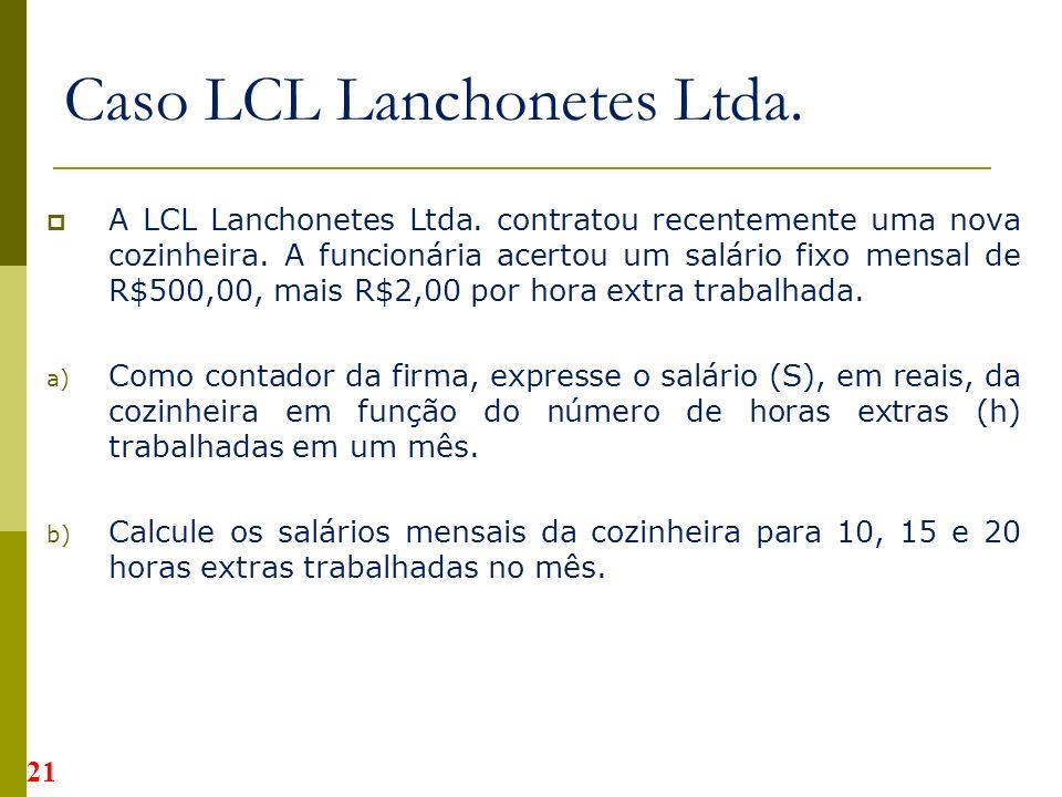 A LCL Lanchonetes Ltda.contratou recentemente uma nova cozinheira.