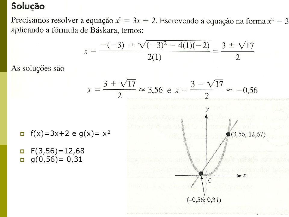 f(x)=3x+2 e g(x)= x² F(3,56)=12,68 g(0,56)= 0,31
