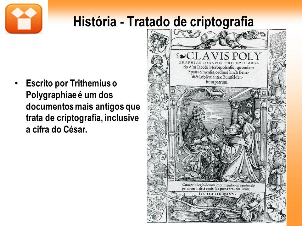 História - Tratado de criptografia Escrito por Trithemius o Polygraphiae é um dos documentos mais antigos que trata de criptografia, inclusive a cifra