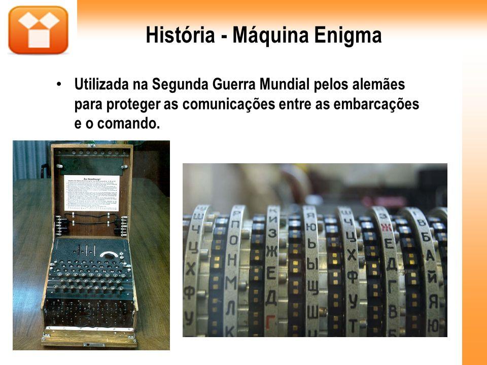 História - Máquina Enigma Utilizada na Segunda Guerra Mundial pelos alemães para proteger as comunicações entre as embarcações e o comando.