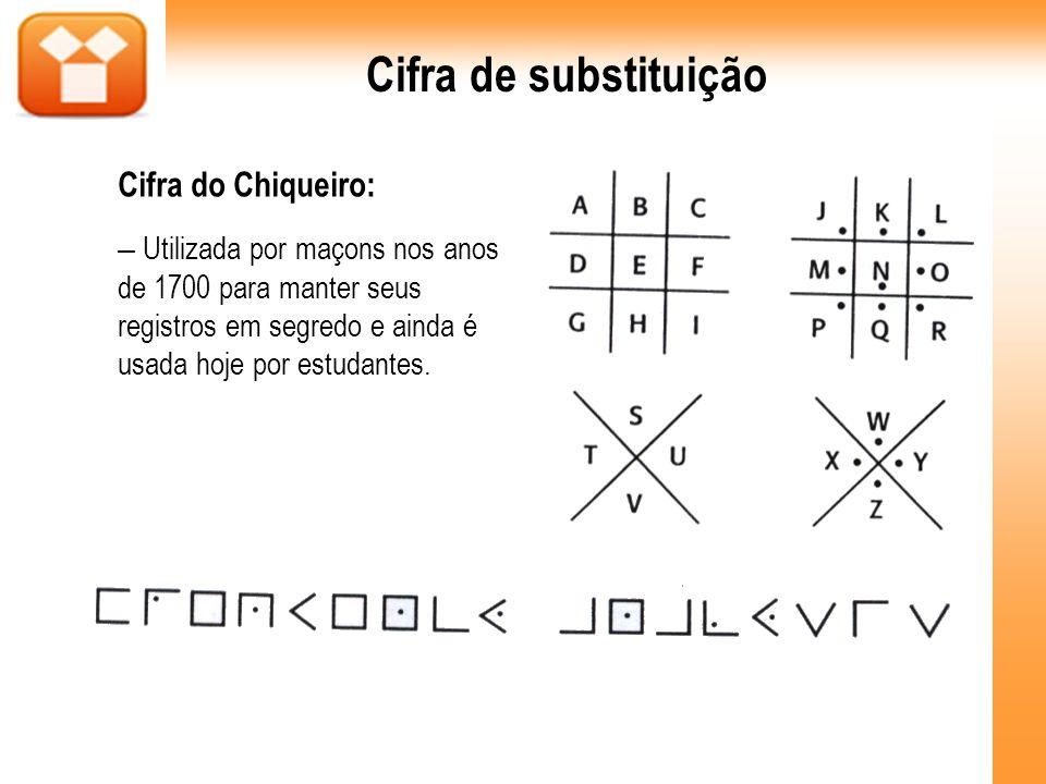 Cifra de substituição Cifra do Chiqueiro: – Utilizada por maçons nos anos de 1700 para manter seus registros em segredo e ainda é usada hoje por estud
