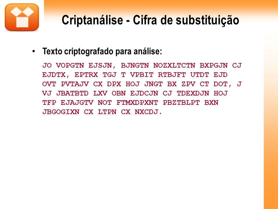 Criptanálise - Cifra de substituição Texto criptografado para análise: JO VOPGTN EJSJN, BJNGTN NOZXLTCTN BXPGJN CJ EJDTX, EPTRX TGJ T VPBIT RTBJFT UTD