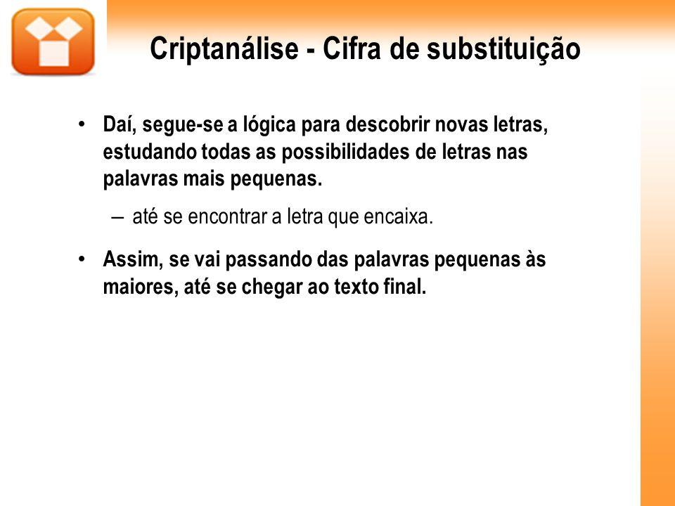 Criptanálise - Cifra de substituição Daí, segue-se a lógica para descobrir novas letras, estudando todas as possibilidades de letras nas palavras mais