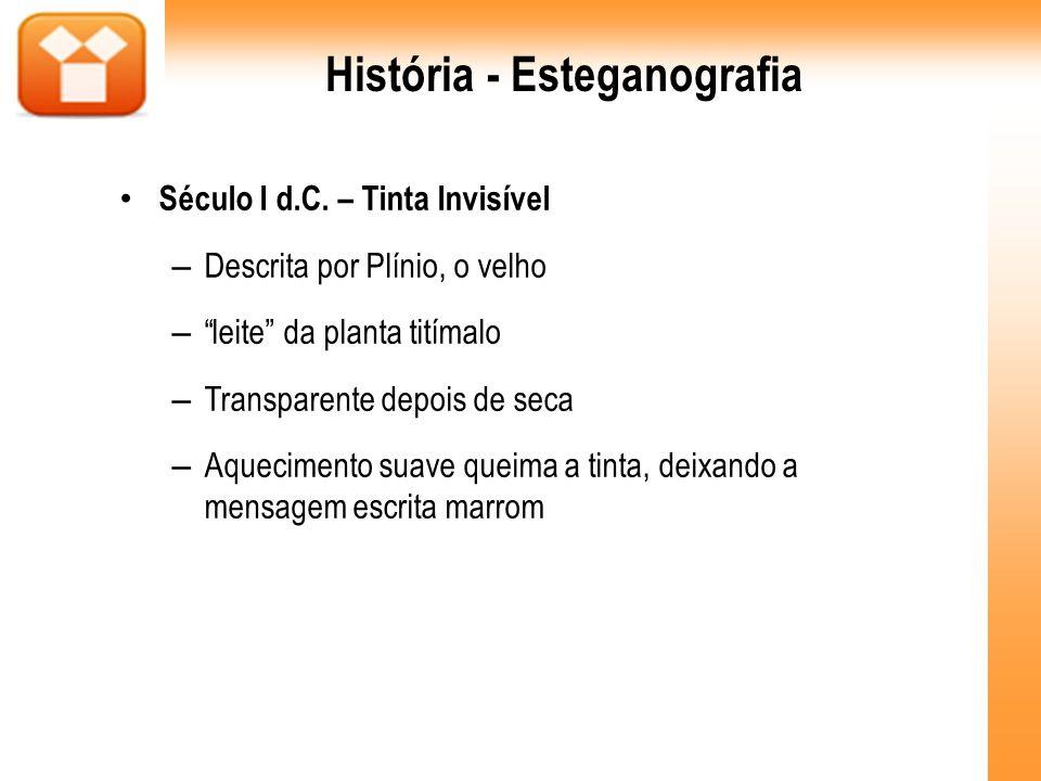 História - Esteganografia Século I d.C. – Tinta Invisível – Descrita por Plínio, o velho – leite da planta titímalo – Transparente depois de seca – Aq