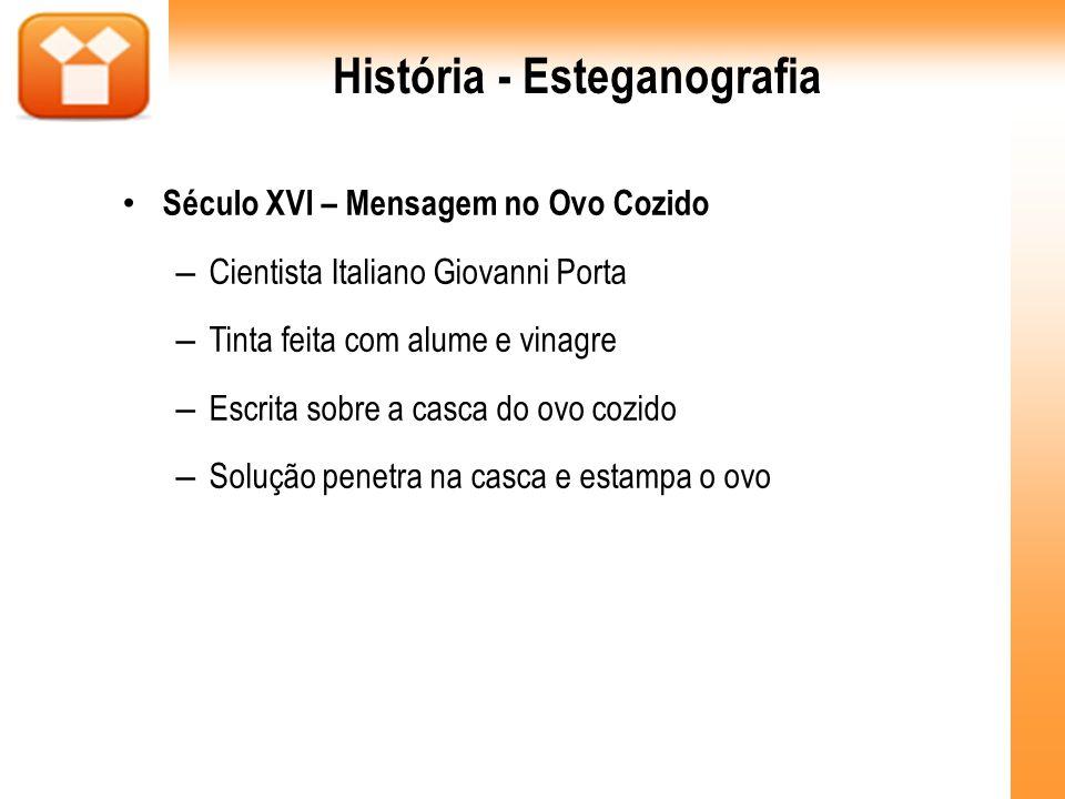 História - Esteganografia Século XVI – Mensagem no Ovo Cozido – Cientista Italiano Giovanni Porta – Tinta feita com alume e vinagre – Escrita sobre a
