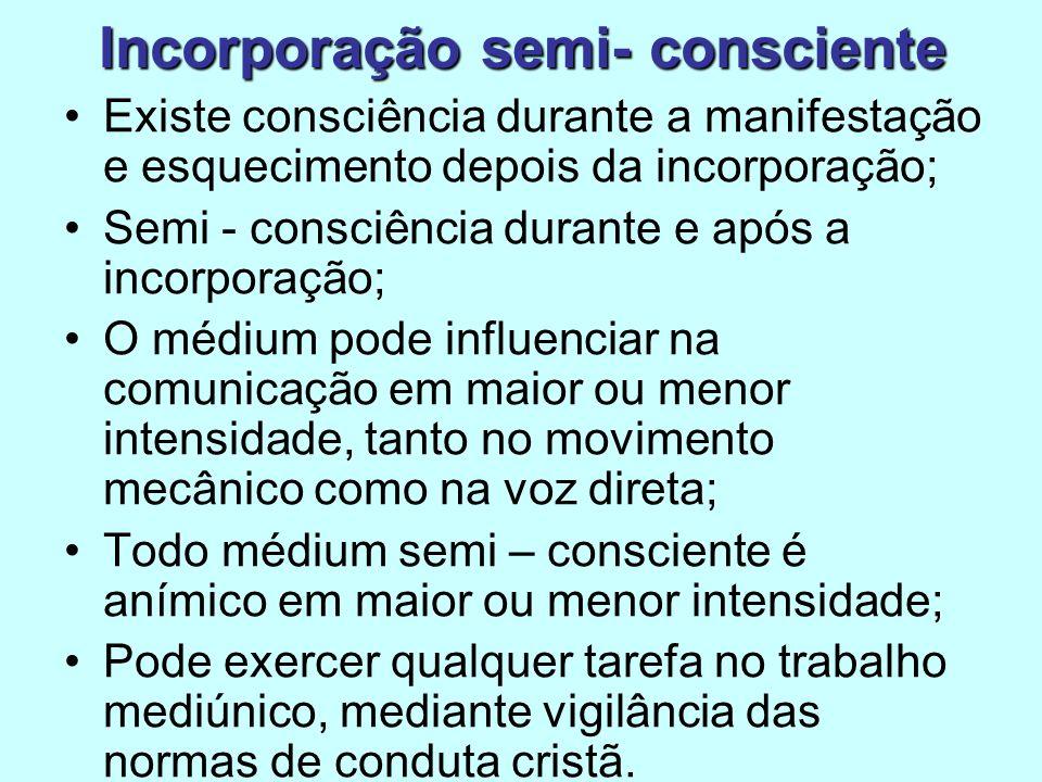 Existe consciência durante a manifestação e esquecimento depois da incorporação; Semi - consciência durante e após a incorporação; O médium pode influ