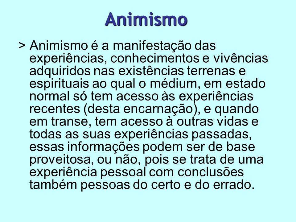 Animismo > Animismo é a manifestação das experiências, conhecimentos e vivências adquiridos nas existências terrenas e espirituais ao qual o médium, e