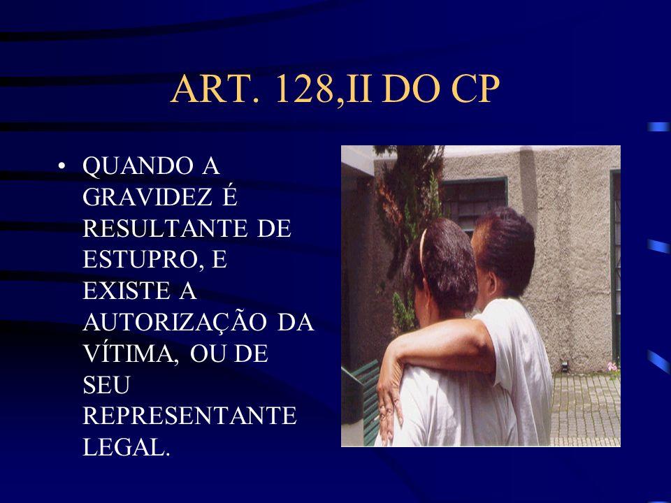 ART. 128,II DO CP QUANDO A GRAVIDEZ É RESULTANTE DE ESTUPRO, E EXISTE A AUTORIZAÇÃO DA VÍTIMA, OU DE SEU REPRESENTANTE LEGAL.