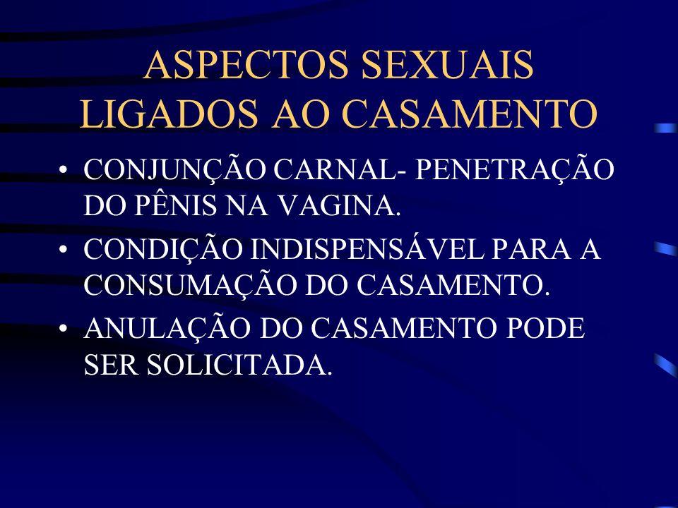 ASPECTOS SEXUAIS LIGADOS AO CASAMENTO CONJUNÇÃO CARNAL- PENETRAÇÃO DO PÊNIS NA VAGINA. CONDIÇÃO INDISPENSÁVEL PARA A CONSUMAÇÃO DO CASAMENTO. ANULAÇÃO