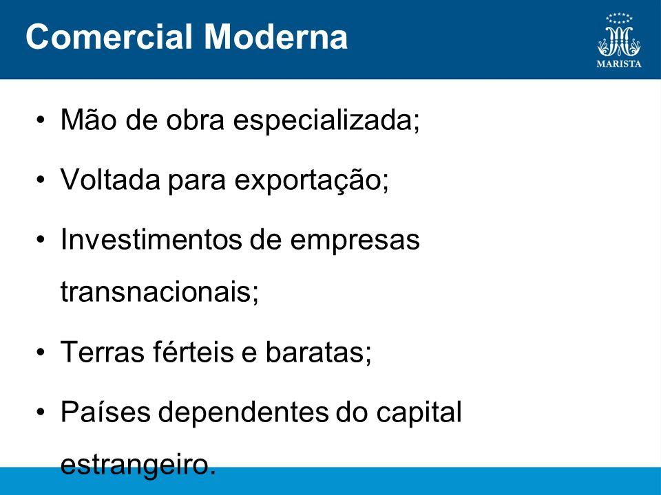 Comercial Moderna Mão de obra especializada; Voltada para exportação; Investimentos de empresas transnacionais; Terras férteis e baratas; Países depen