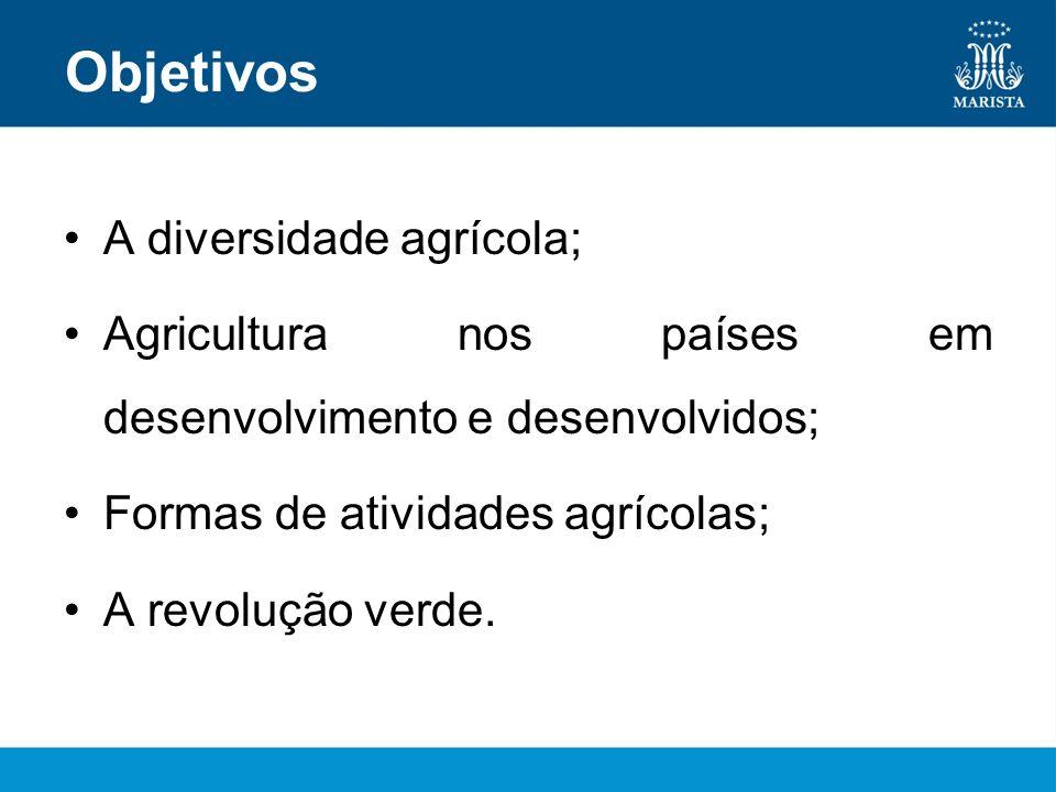 Objetivos A diversidade agrícola; Agricultura nos países em desenvolvimento e desenvolvidos; Formas de atividades agrícolas; A revolução verde.
