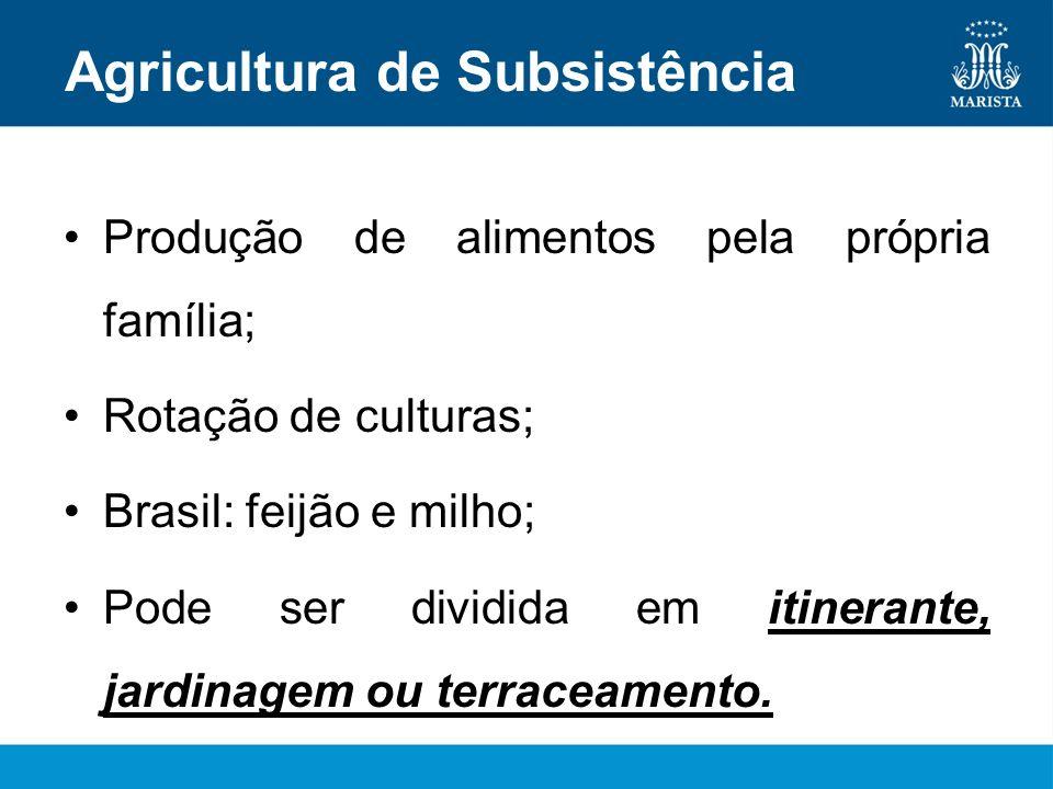 Agricultura de Subsistência Produção de alimentos pela própria família; Rotação de culturas; Brasil: feijão e milho; Pode ser dividida em itinerante,