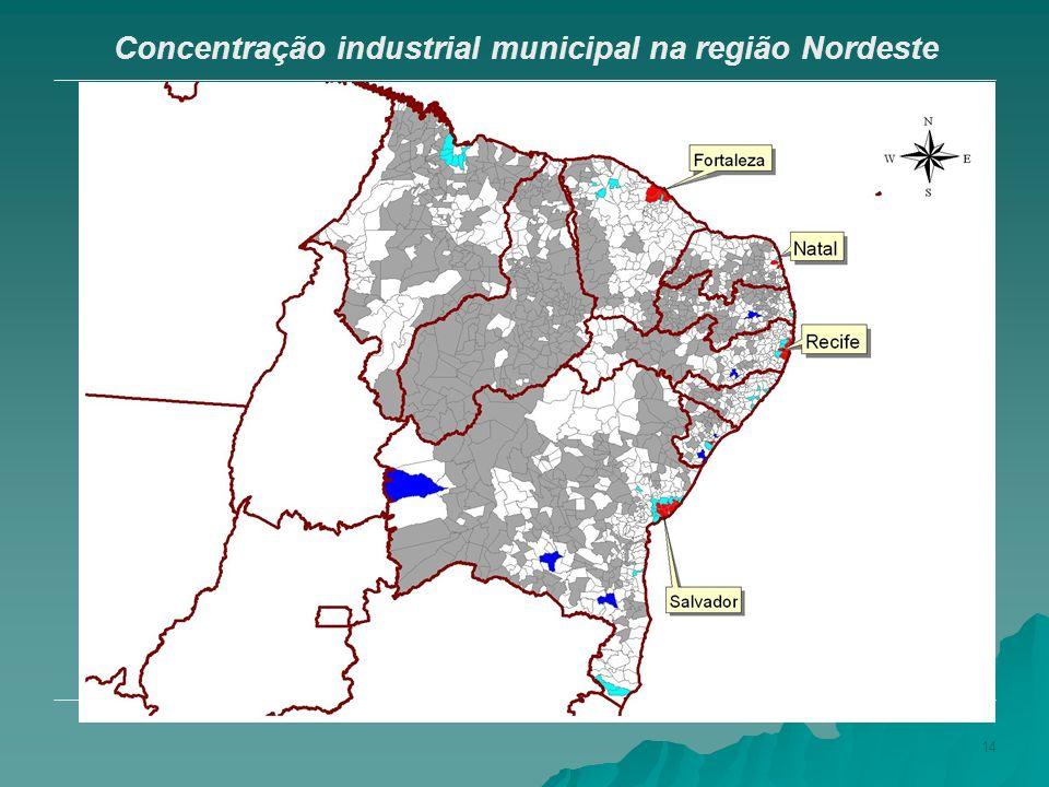 14 Concentração industrial municipal na região Nordeste