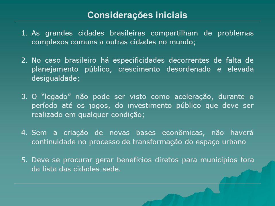Considerações iniciais 1.As grandes cidades brasileiras compartilham de problemas complexos comuns a outras cidades no mundo; 2.No caso brasileiro há