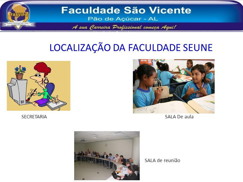 LOCALIZAÇÃO DA FACULDADE SEUNE SECRETARIA SALA De aula SALA de reunião