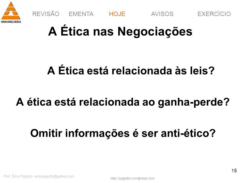 REVISÃOEMENTAHOJEEXERCÍCIOAVISOS http://pagotto.wordpress.com Prof. Érico Pagotto - ericopagotto@yahoo.com 15 A Ética nas Negociações A Ética está rel
