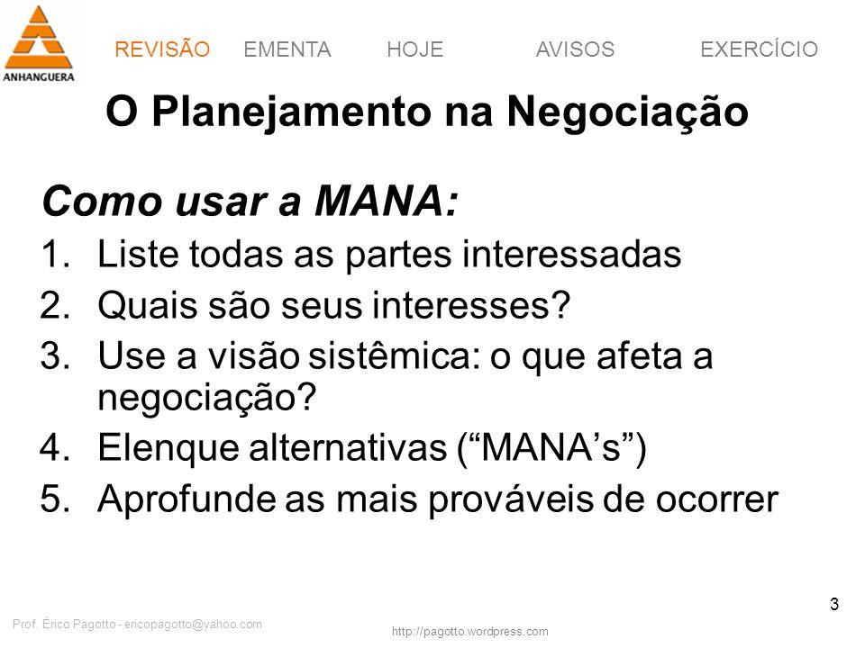 REVISÃOEMENTAHOJEEXERCÍCIOAVISOS http://pagotto.wordpress.com Prof. Érico Pagotto - ericopagotto@yahoo.com 3 O Planejamento na Negociação Como usar a