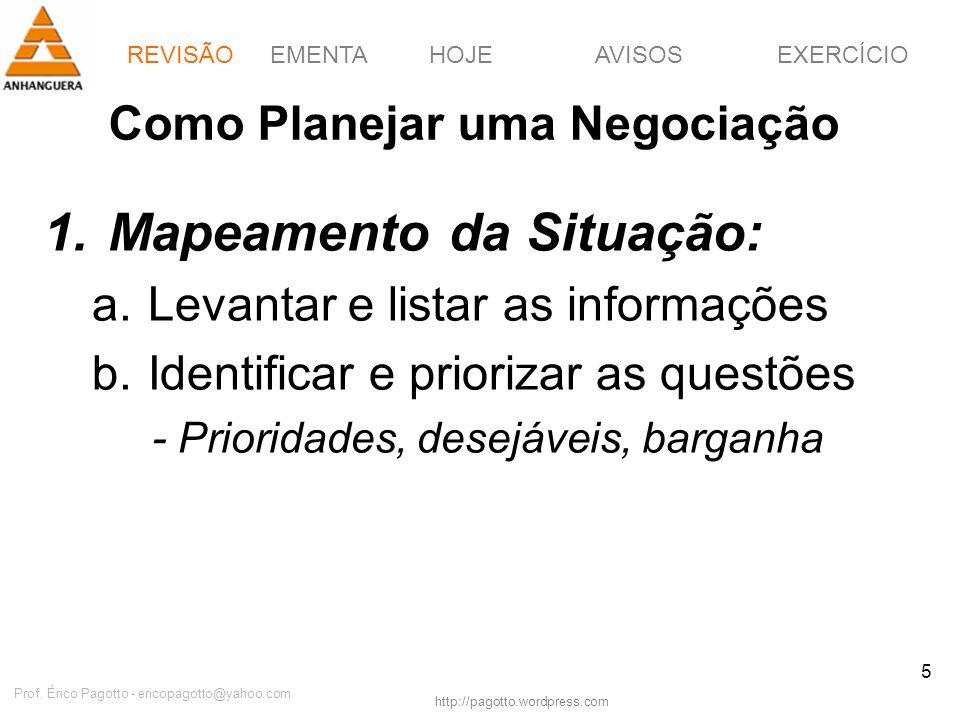 EMENTAHOJEEXERCÍCIOAVISOS http://pagotto.wordpress.com Prof. Érico Pagotto - ericopagotto@yahoo.com 5 Como Planejar uma Negociação 1.Mapeamento da Sit