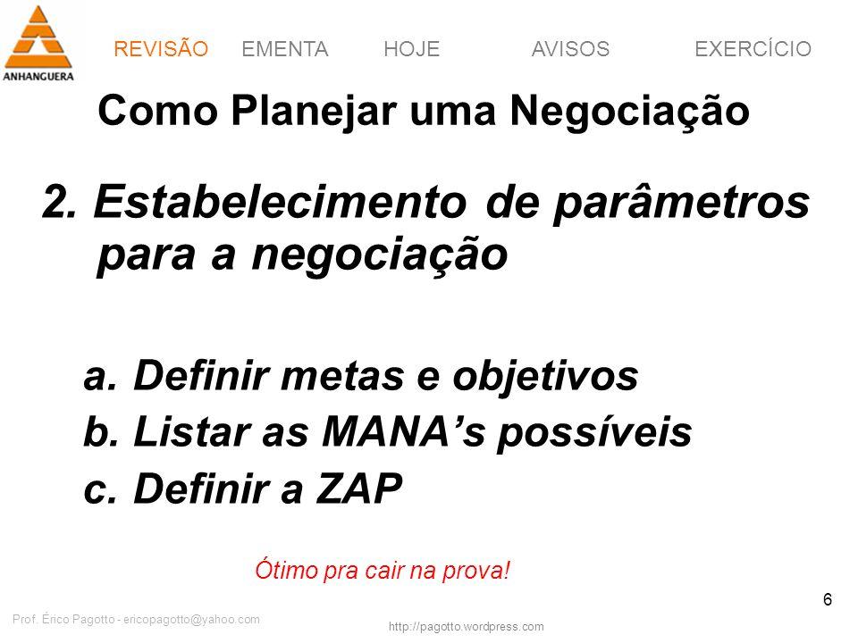 EMENTAHOJEEXERCÍCIOAVISOS http://pagotto.wordpress.com Prof. Érico Pagotto - ericopagotto@yahoo.com 6 Como Planejar uma Negociação 2. Estabelecimento