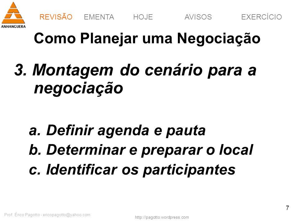 EMENTAHOJEEXERCÍCIOAVISOS http://pagotto.wordpress.com Prof. Érico Pagotto - ericopagotto@yahoo.com 7 Como Planejar uma Negociação 3. Montagem do cená
