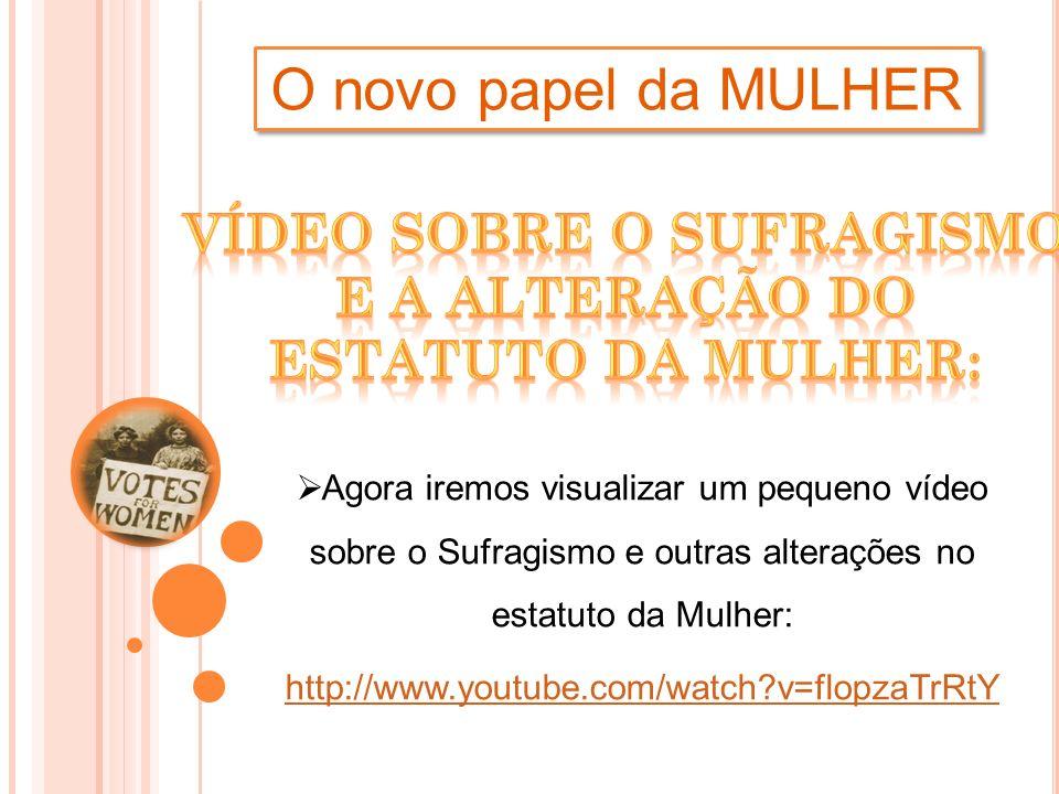 O novo papel da MULHER Agora iremos visualizar um pequeno vídeo sobre o Sufragismo e outras alterações no estatuto da Mulher: http://www.youtube.com/w