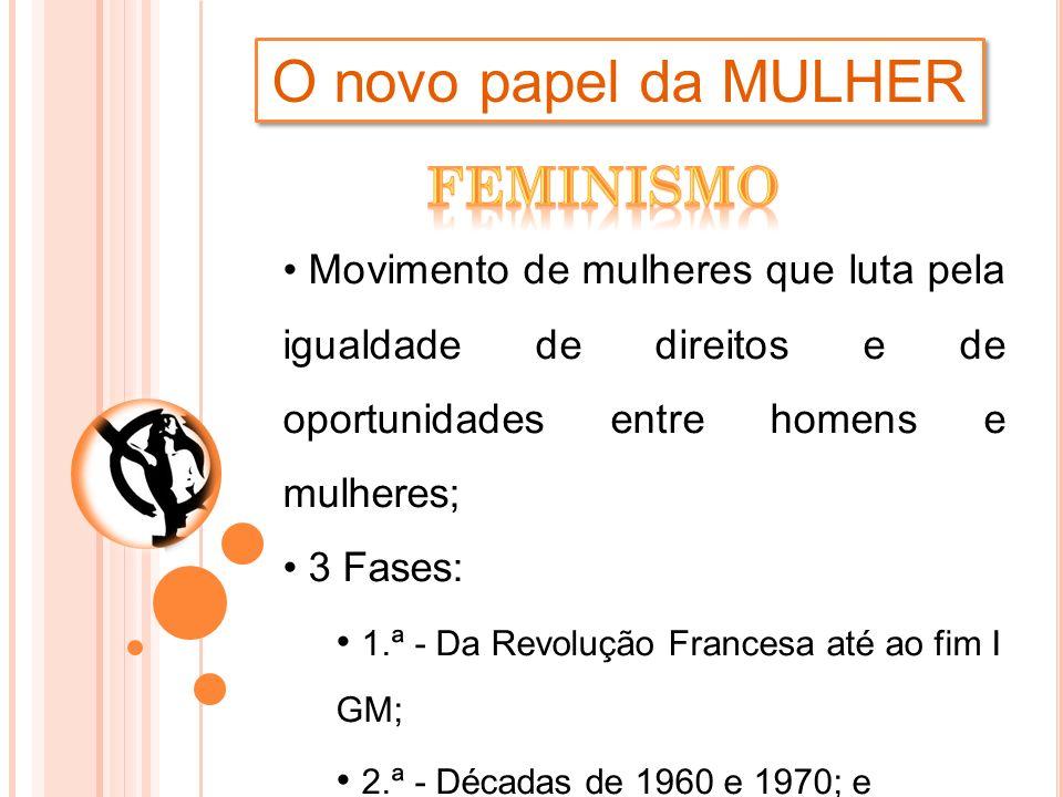 O novo papel da MULHER Movimento de mulheres que luta pela igualdade de direitos e de oportunidades entre homens e mulheres; 3 Fases: 1.ª - Da Revoluç