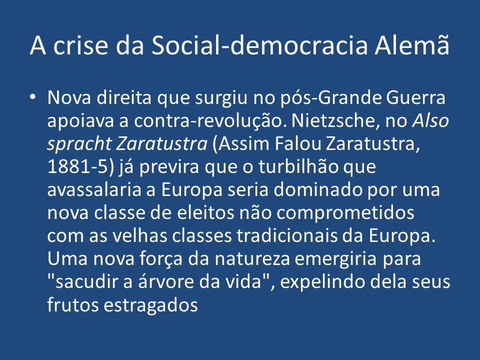 A crise da Social-democracia Alemã Nova direita que surgiu no pós-Grande Guerra apoiava a contra-revolução. Nietzsche, no Also spracht Zaratustra (Ass