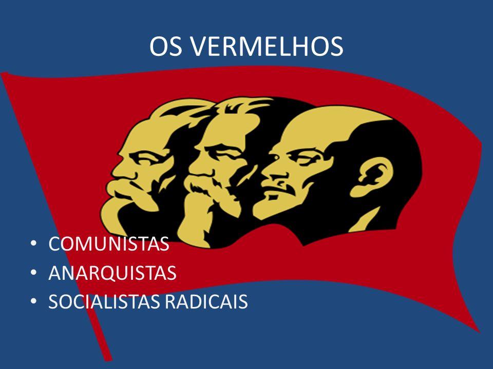 OS VERMELHOS COMUNISTAS ANARQUISTAS SOCIALISTAS RADICAIS