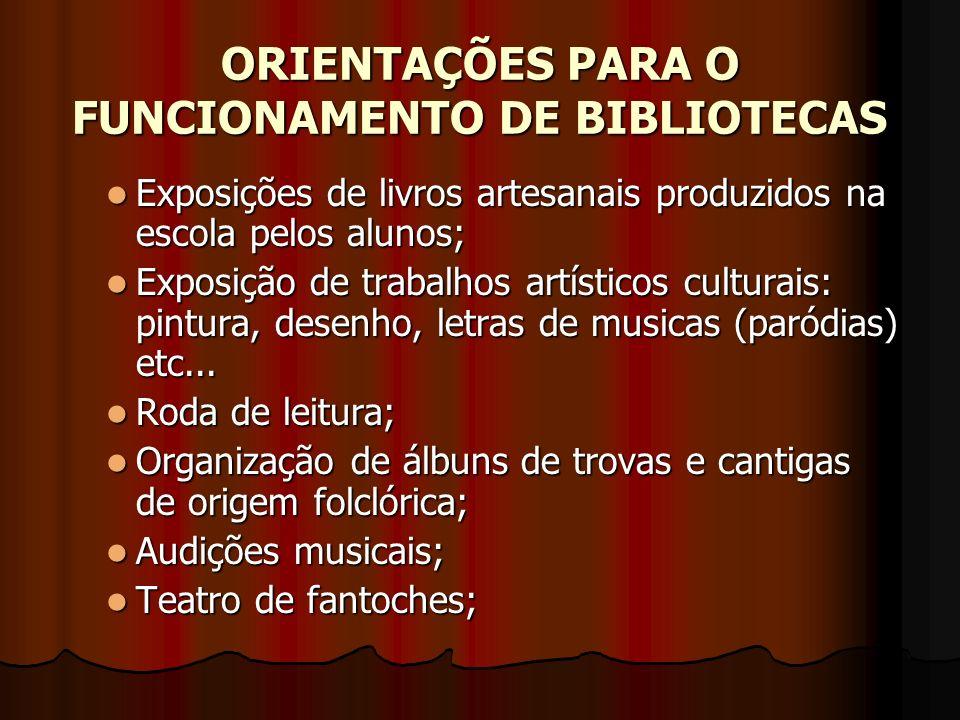 ORIENTAÇÕES PARA O FUNCIONAMENTO DE BIBLIOTECAS Exposições de livros artesanais produzidos na escola pelos alunos; Exposições de livros artesanais pro