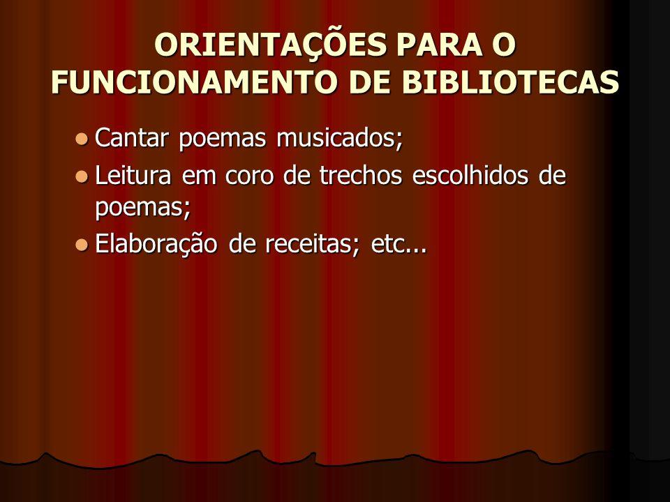 ORIENTAÇÕES PARA O FUNCIONAMENTO DE BIBLIOTECAS Cantar poemas musicados; Cantar poemas musicados; Leitura em coro de trechos escolhidos de poemas; Lei