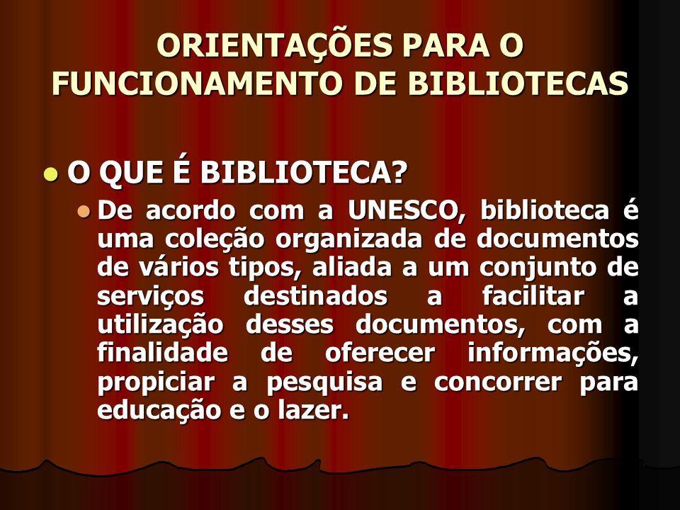 ORIENTAÇÕES PARA O FUNCIONAMENTO DE BIBLIOTECAS TIPOS DE BIBLIOTECAS TIPOS DE BIBLIOTECAS Públicas (nacionais, estaduais, municipais e comunitárias) Públicas (nacionais, estaduais, municipais e comunitárias) Biblioteca pública é a que tem por finalidade servir às massas, atendendo gratuitamente uma coletividade local ou regional, como um centro de educação para o povo, embora isso não signifique que outros tipos de bibliotecas não possam, também, dar acesso ao público.