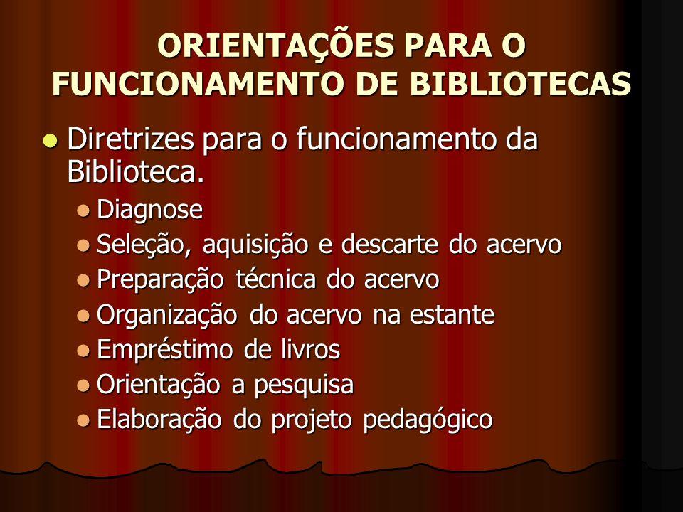 ORIENTAÇÕES PARA O FUNCIONAMENTO DE BIBLIOTECAS Diretrizes para o funcionamento da Biblioteca. Diretrizes para o funcionamento da Biblioteca. Diagnose