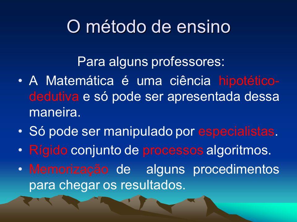 O método de ensino Para outros professores: As regras de dedução, são construídas aos poucos.