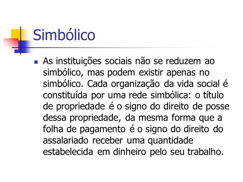 Simbólico As instituições sociais não se reduzem ao simbólico, mas podem existir apenas no simbólico. Cada organização da vida social é constituída po