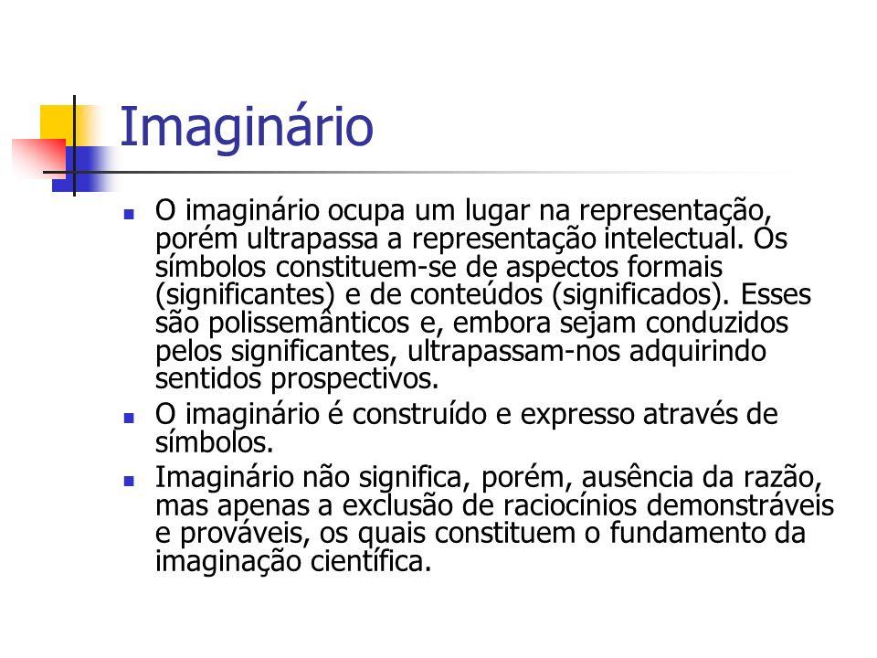 Imaginário O imaginário ocupa um lugar na representação, porém ultrapassa a representação intelectual. Os símbolos constituem-se de aspectos formais (