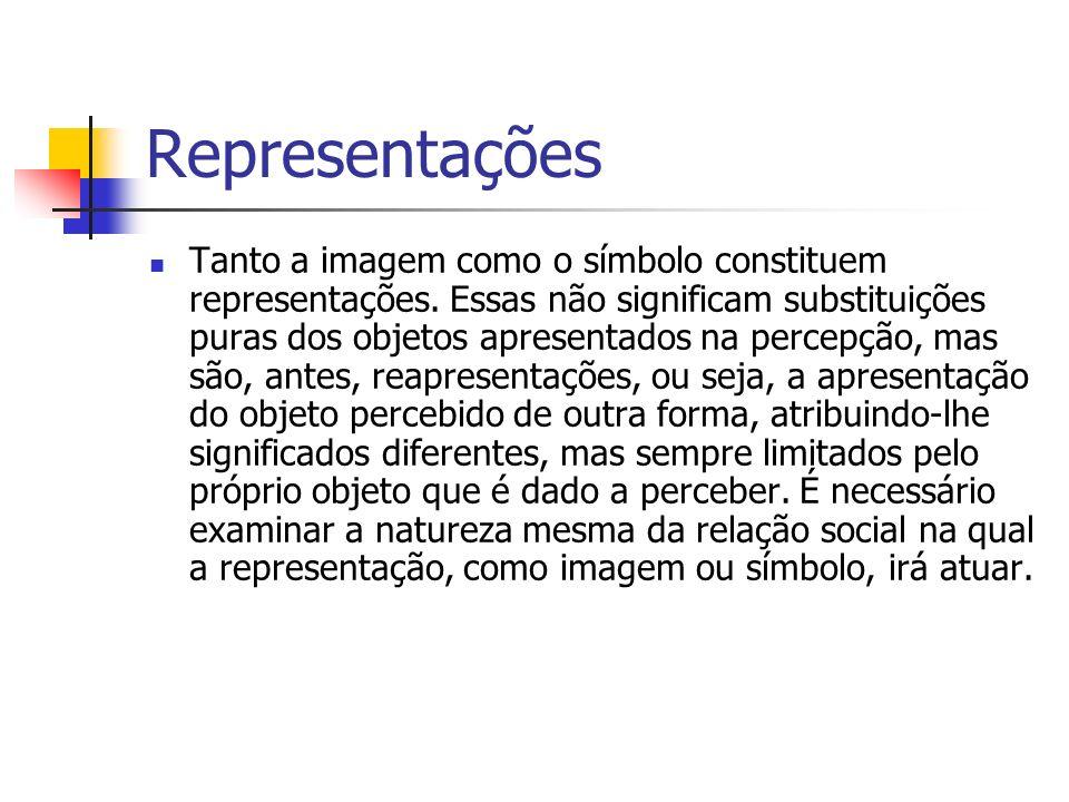 Representações Tanto a imagem como o símbolo constituem representações. Essas não significam substituições puras dos objetos apresentados na percepção