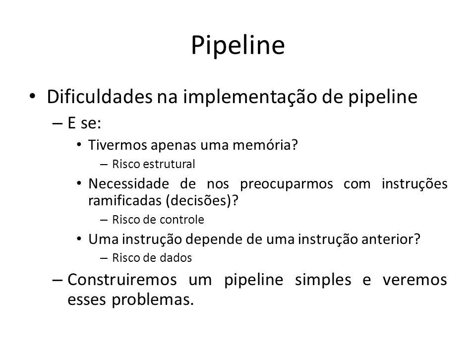 Pipeline Dificuldades na implementação de pipeline – E se: Tivermos apenas uma memória? – Risco estrutural Necessidade de nos preocuparmos com instruç