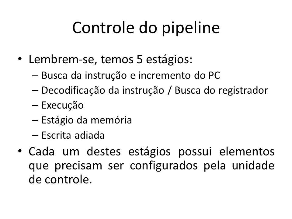 Controle do pipeline Lembrem-se, temos 5 estágios: – Busca da instrução e incremento do PC – Decodificação da instrução / Busca do registrador – Execu