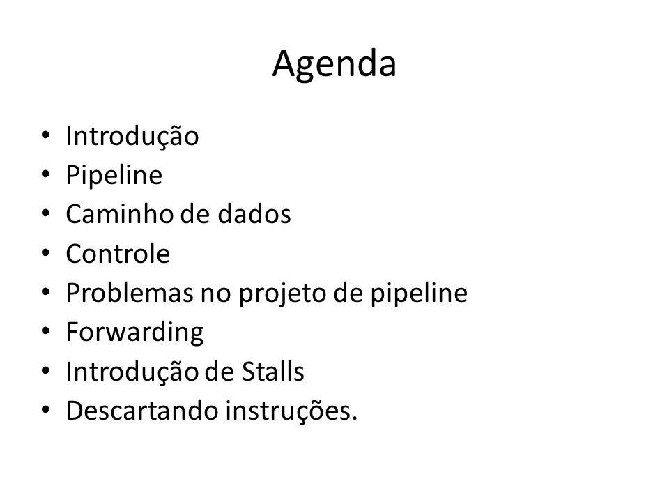 Agenda Introdução Pipeline Caminho de dados Controle Problemas no projeto de pipeline Forwarding Introdução de Stalls Descartando instruções.