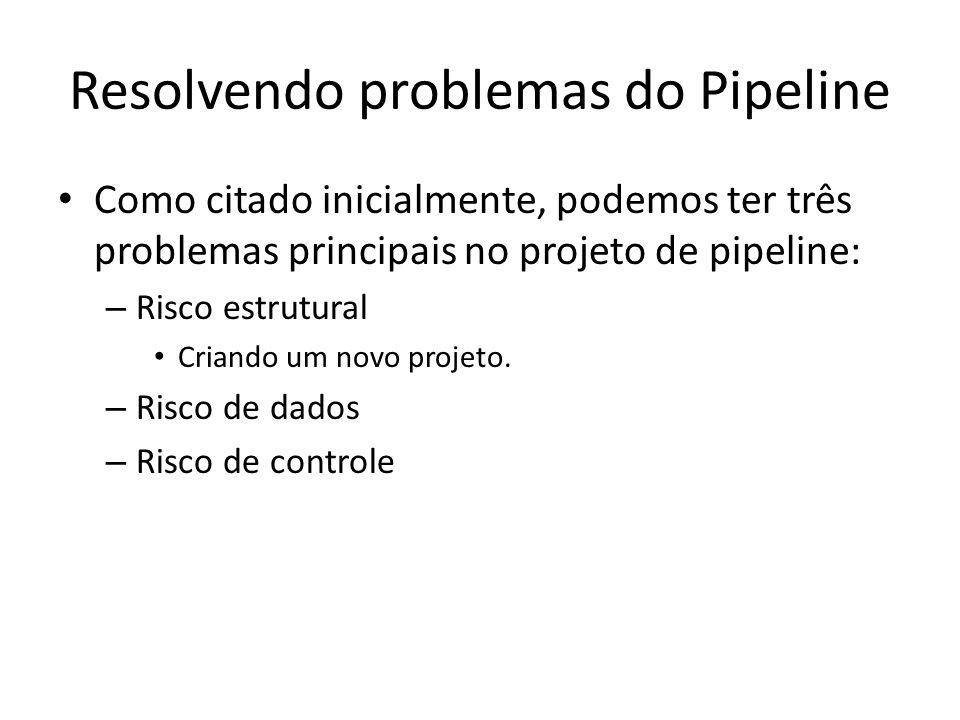 Resolvendo problemas do Pipeline Como citado inicialmente, podemos ter três problemas principais no projeto de pipeline: – Risco estrutural Criando um