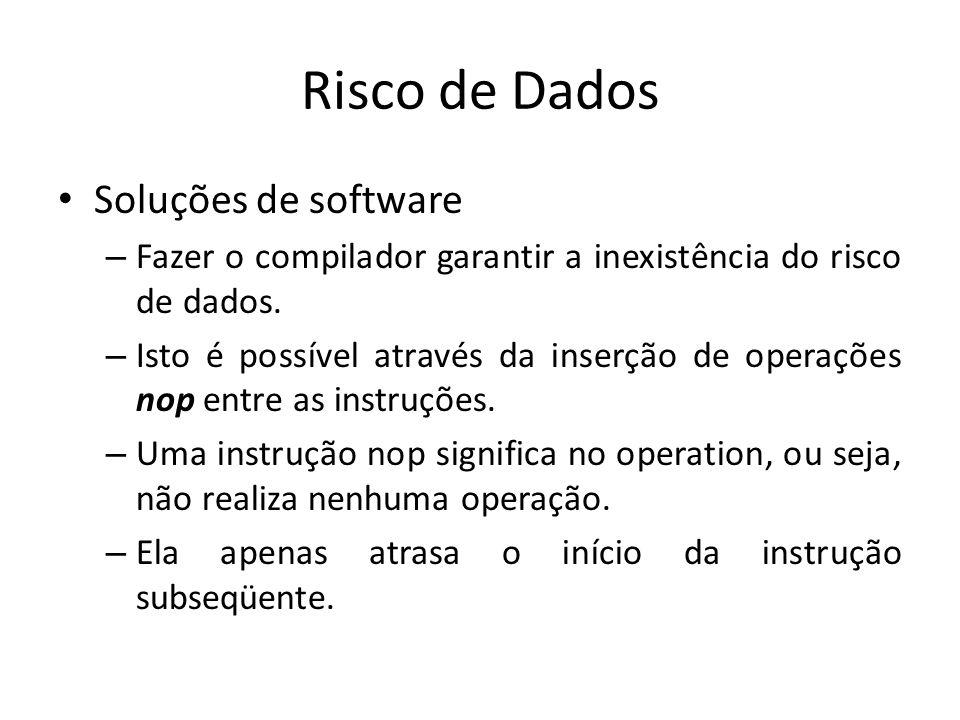 Risco de Dados Soluções de software – Fazer o compilador garantir a inexistência do risco de dados. – Isto é possível através da inserção de operações