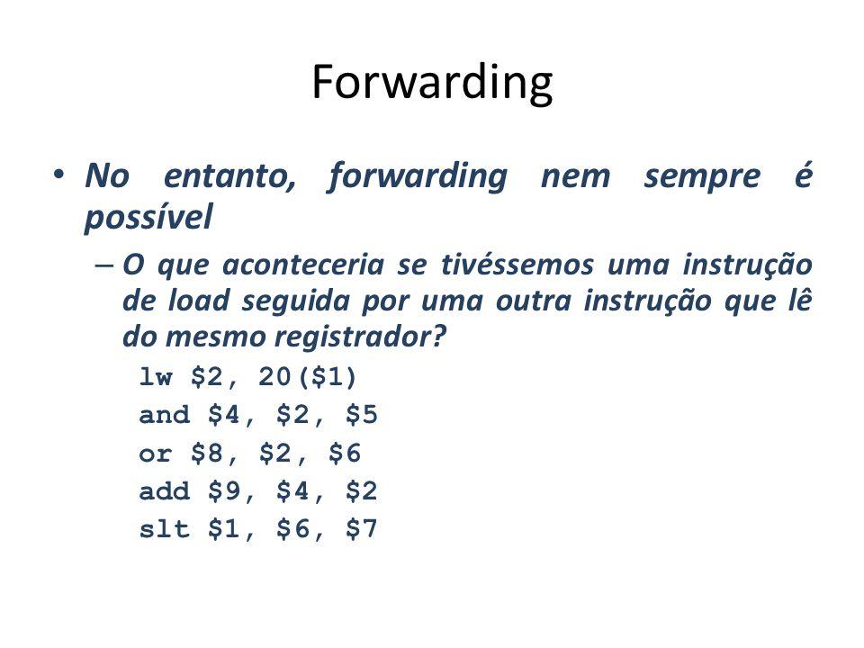 Forwarding No entanto, forwarding nem sempre é possível – O que aconteceria se tivéssemos uma instrução de load seguida por uma outra instrução que lê