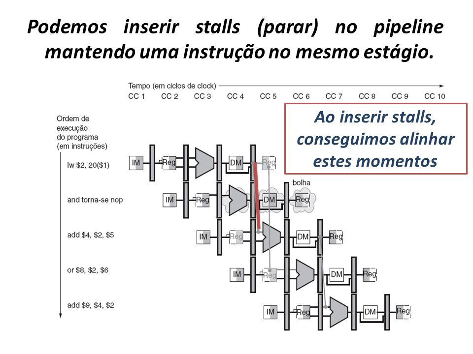 Podemos inserir stalls (parar) no pipeline mantendo uma instrução no mesmo estágio. Ao inserir stalls, conseguimos alinhar estes momentos