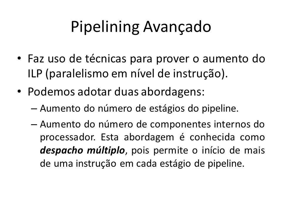 Pipelining Avançado Faz uso de técnicas para prover o aumento do ILP (paralelismo em nível de instrução). Podemos adotar duas abordagens: – Aumento do