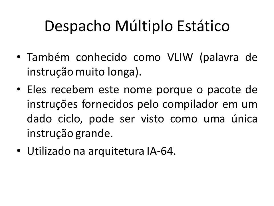 Despacho Múltiplo Estático Também conhecido como VLIW (palavra de instrução muito longa). Eles recebem este nome porque o pacote de instruções forneci