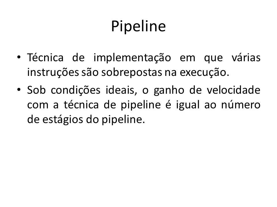 Pipeline Técnica de implementação em que várias instruções são sobrepostas na execução. Sob condições ideais, o ganho de velocidade com a técnica de p