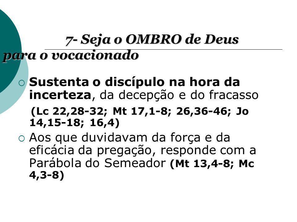 Sustenta o discípulo na hora da incerteza, da decepção e do fracasso (Lc 22,28-32; Mt 17,1-8; 26,36-46; Jo 14,15-18; 16,4) Aos que duvidavam da força